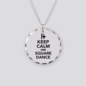 Keep calm and square dance Necklace Circle Charm